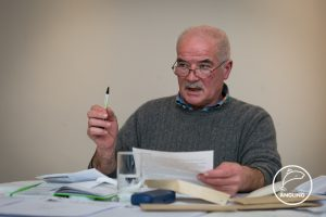 Club Secretary Pat O'Toole makes a point at the AGM