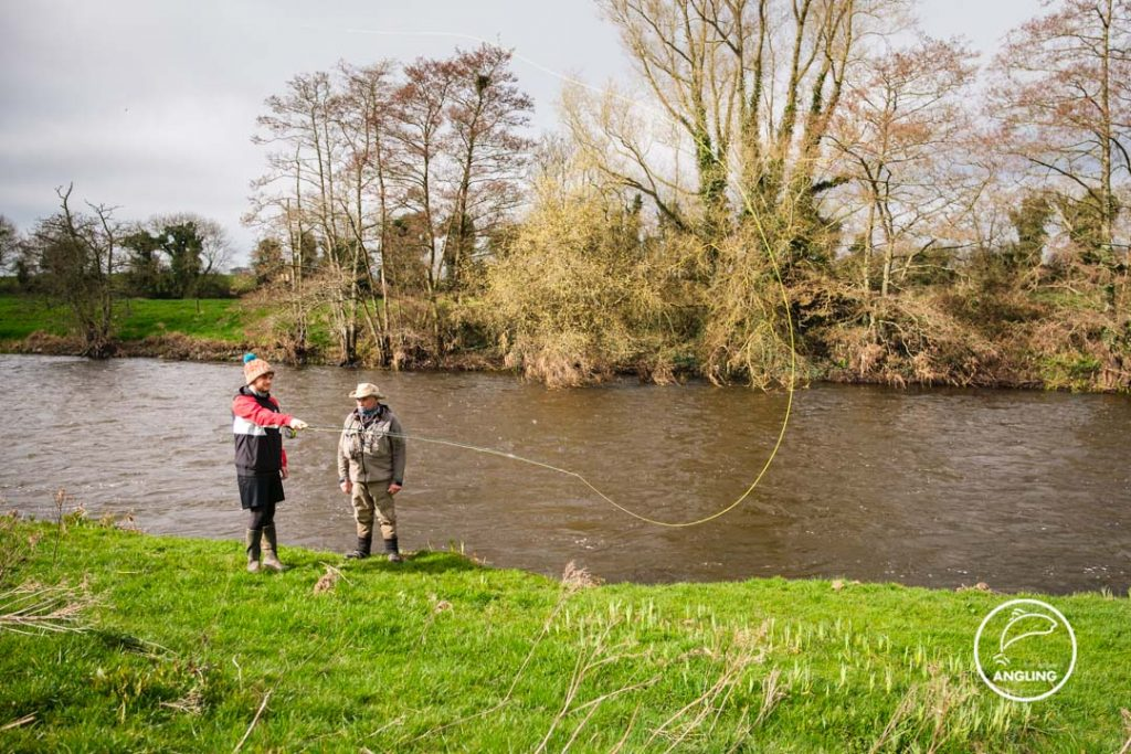 Pat O'Toole giving fly casting lessons on the River Boyne