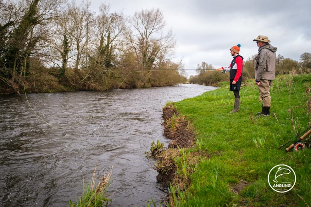 Pat O'Toole giving casting lessons on the River Boyne